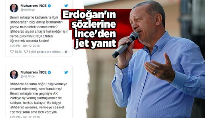 Erdoğan'ın sözlerine İnce'den jet yanıt