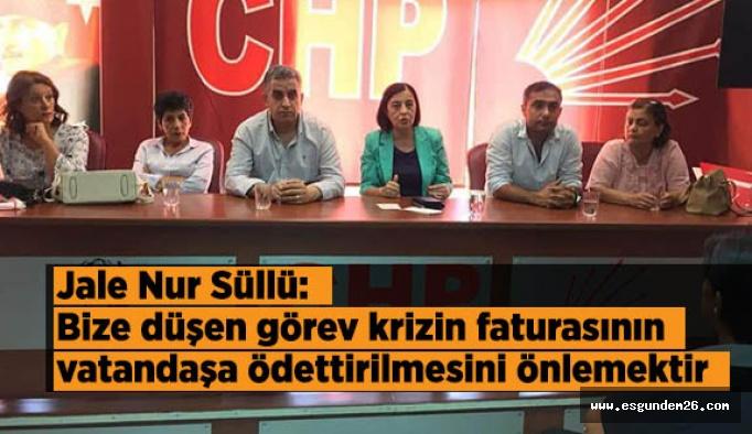 Süllü: Bize düşen görev krizin faturasının vatandaşa ödettirilmesini önlemektir