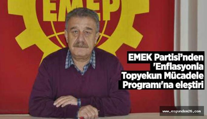 EMEK Partisi: Her şey enflasyonu 'düşük' göstermek için