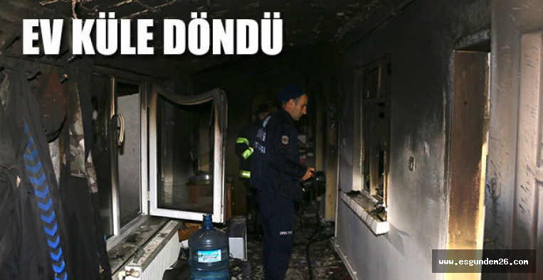 Sobadan sıçrayan alevler evi yaktı