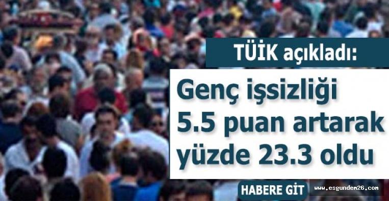 Genç işsizliği 5.5 puan artarak yüzde 23.3 oldu