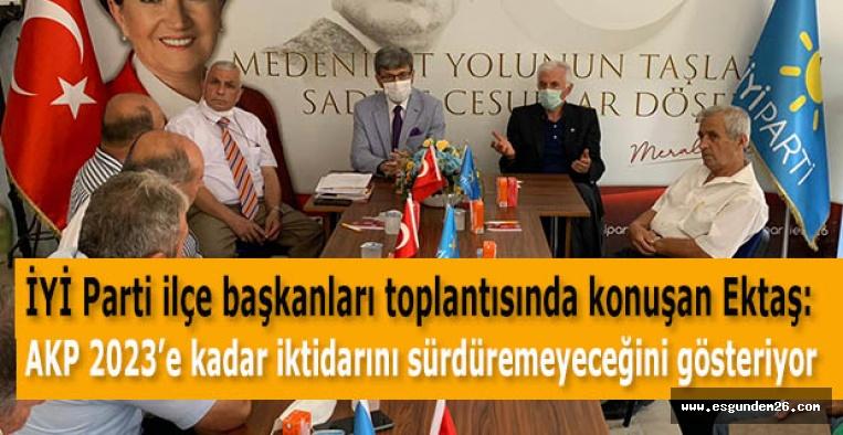İYİ Parti İl Başkanı Ektaş: AKP 2023'e kadar iktidarını sürdüremeyeceğini gösteriyor