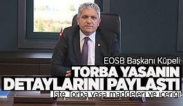 EOSB Başkanı Küpeli: Yeni düzenlemeler nefes aldırmaya yönelik önemli adımlardır