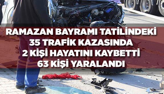35 TRAFİK KAZASINDA  2 KİŞİ ÖLDÜ, 63 KİŞİ YARALANDI