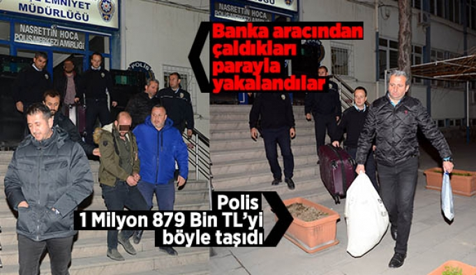 Banka aracından  çaldıkları  parayla  yakalandılar