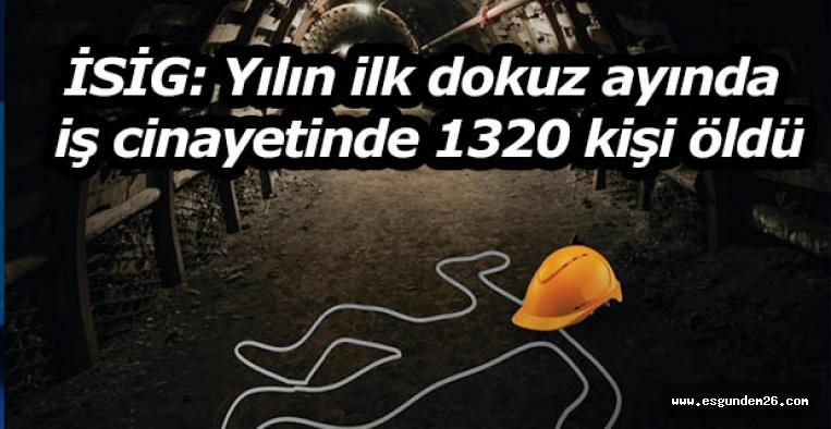 İSİG: Yılın ilk dokuz ayında iş cinayetinde 1320 kişi öldü