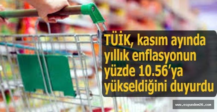 TÜİK, kasım ayında yıllık enflasyonun yüzde 10.56'ya yükseldiğini duyurdu