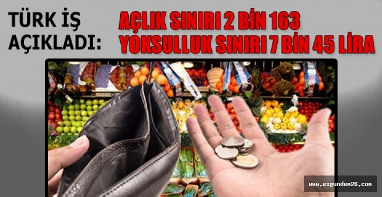 """YOKSULLUK SINIRI 7 BİN 45 LİRA"""