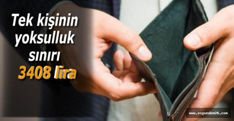 Tek kişinin yoksulluk sınırı 3408 lira