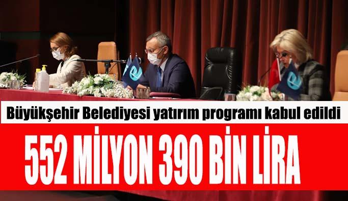 Büyükşehir Belediyesi yatırım programı kabul edildi