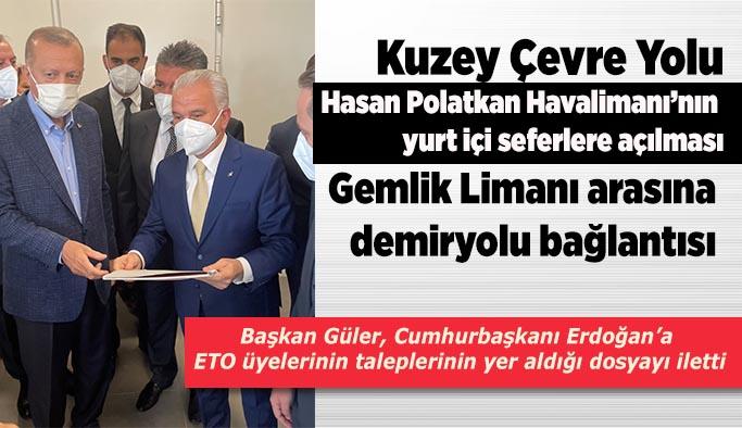 Güler tüccarın ve Eskişehir'in önceliklerini Cumhurbaşkanı Erdoğan'a iletti
