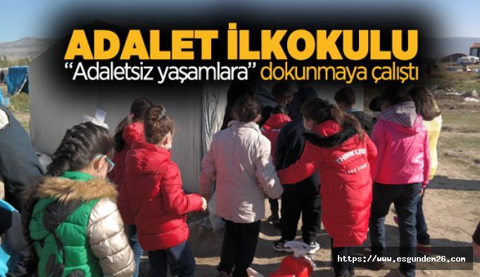 İlkokul öğrencileri, çadırda yaşayan çocukları ziyaret etti