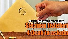Seçim takvimi ilan edildi: Seçmen listeleri 4 Ocak'ta askıda