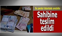 Lokantada unutulan içi para dolu çanta sahibi bulunarak teslim edildi
