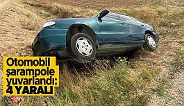 Otomobil şarampole yuvarlandı:4 yaralı
